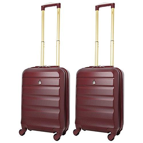 Aerolite Set de 2 ABS Bagage Cabine à Main Valise Rigide Léger 4 Roulettes (2 x d'or Du vin)