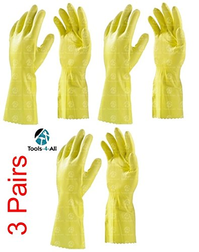 Clean & Clever Flocklined Rubber Hand Gloves, Set of 3 Pairs, Yellow