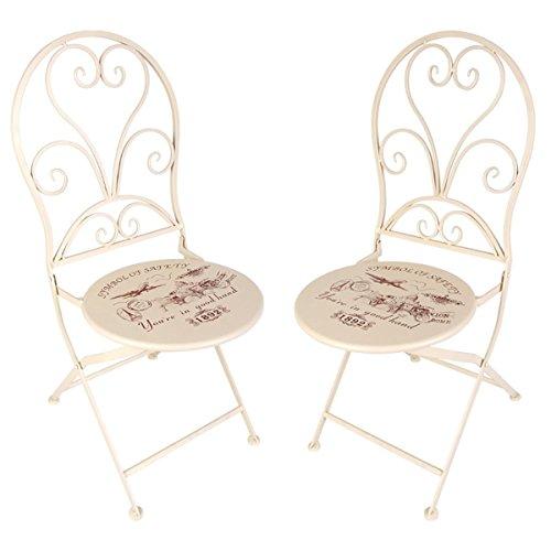 3tlg. Vintage Balkon Set Shabby Look Garten Terrasse Metall Stuhl Tisch Stühle Landhaus
