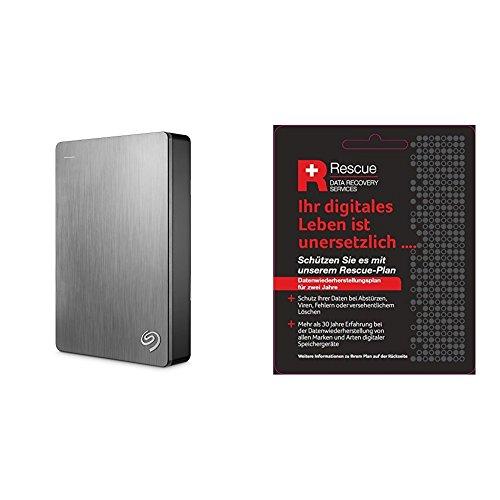 Seagate STDR5000201 Externe tragbare Festplatte (inkl. Backup-Software, USB 3,0, PC, MAC und PS4) + STZZ794 Produktkarte mit Code zur Registrierung, Backup Plus 5 TB, silber