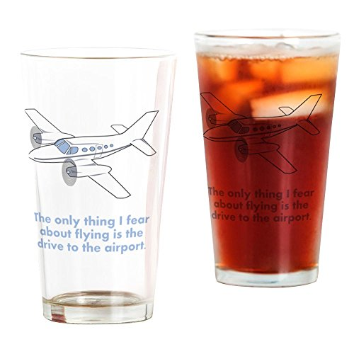 CafePress Airplane Fear Bierglas, Blau farblos