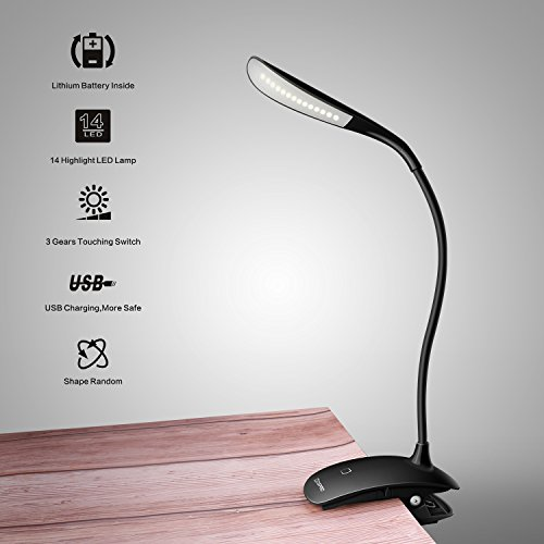 LED Klemmleuchte Leselampe Klemmen Buchlampe - Dimmbar Schreibtischlampe Augenschutz Flexible Nachttischlampe LED nachladbare klemmlampe kinder mit Touch-Dimmer, 3-Stufe Helligkeit Schwarz