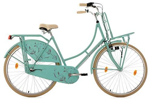 KS Cycling Damen Fahrrad Hollandrad Tussaud 3-Gang mit Frontgepäckträger RH 54 cm, Mint matt, 28 Zoll