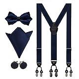 Aissy Hosenträger für Herren 3.5cm Y-Form Elastisch und Längenverstellbar Hosenträger Breit mit 6 starken Clips und Fliege & Einsteckuch Blau 3