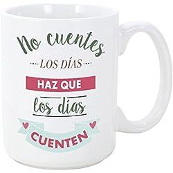 Tazas desayuno originales con frases motivadoras - No cuentes los días, haz que los días cuenten - 350 ml - Tazas con mensajes motivacionales