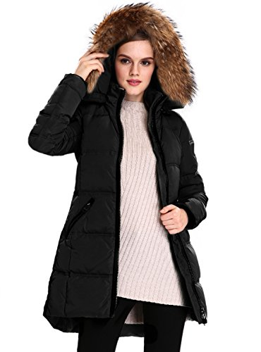 Escalier cappotto invernale parka da donna piumino con vera pelliccia cappuccio