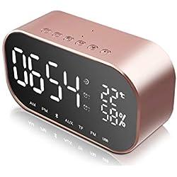 JIM'S STORE Radio Réveil avec Double Alarme FM Numérique Thermomètre Horloge Numérique USB Fonction Snooze Minuteur de Mise en Veille12/24h Grand Ecran LED Or Rose