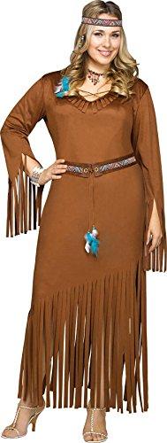 Pocahontas Plus Kostüm Größe - Generique - Indianer Kostüm für Damen Plus Size XL