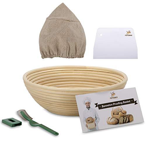 Gärkörbchen Rund ø 25cm Brotteig Gärkörbe Natürlicher Rattansauerteig-Testkorb (mit Liner, Teigschaber, Brotlame, Starter-Rezept-Set) Proofing Basket