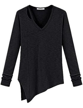 Kerlana Camicia Donna T Shirt Elegante V-collo Maglie A Manica Lunga Colore Puro Blouses Casuale Blusa Orlo Irregolare...