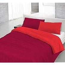 Funda nòrdica Rojo/Burdeos 1 plaza (150 x 200 cm + 52 x 82 cm)