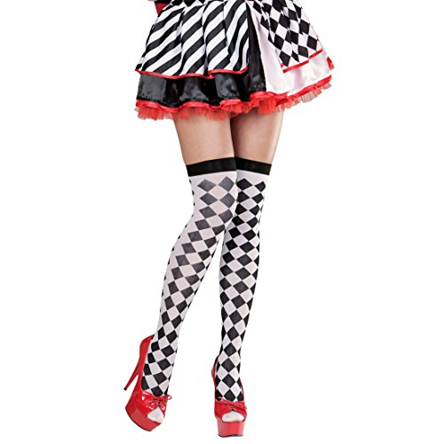 Amakando Overknees schwarz-weiß kariert halterlose Strümpfe Schachbrett schwarz, weiß Checkerboard Damenstrümpfe Clownstrümpfe Karomuster Harlekin Kostüm Accessoire Kniestrümpfe Karodesign - Schachbrett Kostüm