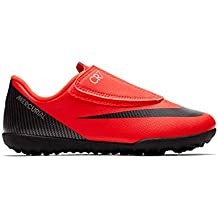 Nike Bota de Futbol CR7 Mercurial Vapor 12 Club Suela Turf con Velcro Roja  Niño 9f291c4330374