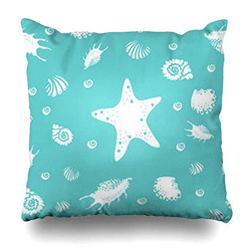 Klotr Fundas Almohadas Blue Abstract Shells Starfish
