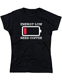 NerdShirts Energy Low Need Coffee Lady Fit Ladies T-Shirt Black