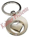 Kaltner Präsente Engel Schlüsselanhänger Anhänger Herz mit Chip für den Einkaufswagen
