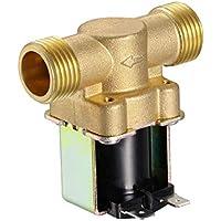"""UKCOCO 1/2""""NPSM DC 12V 2 vías Válvula electromagnética eléctrica de latón normalmente cerrada Válvula electromagnética de entrada de agua magnética Válvula electromagnética"""