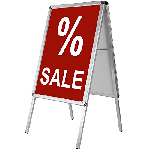 Werbeaufsteller Außenbereich ✔ beidseitig ✔ klappbar ✔ Aluminium ✔ DIN A1 122 x 64 x 66cm - Kundenstopper Plakatständer Werbetafel Gehwegaufsteller