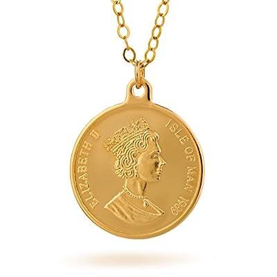 Pièce en or Collier avec pendentif Chaîne en or remplie Longueur 41cm + 5cm Extender