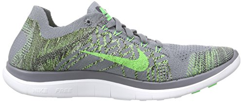 Nike Free 4.0 Flyknit, Chaussures de Running Entrainement Homme Gris (cool Grey/green Strike/black)