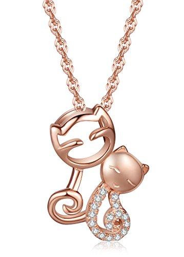 Infinite U elegante de pareja de gatos Plata de ley 925chapado en los amantes de los de gato Circonita Cúbica Colgante Mujeres Collar Con Colgante, Oro Rosa