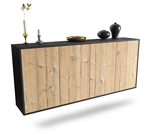 Dekati Sideboard Lakewood hängend (180x77x35cm) Korpus anthrazit matt | Front Holz-Design Pinie | Push-to-Open
