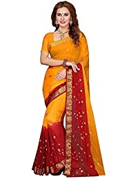 Holi special dress for women Sarees combo offer below 500 rs Sarees ( Sarees combo offer below 500 rs sarees for women latest design 2018 sarees new collection 2017 sarees below 1000 rupees sarees below 500 rupees party wear sarees for women party wear sarees above 1000 rupees sarees above 2000 rupees sarees above 1000 sarees all sarees above 500 rupees a party wear sarees for wedding Yellow & Red Color Chiffon Fabric Saree and unstitched blouse piece )
