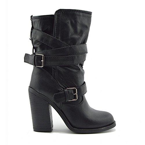 Kick Footwear Donna Ankle Boots con il Tacco Alto tacco a Blocco tacco Caviglia-alto Nero Stivali Marroni Nero