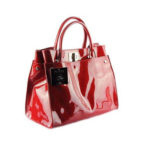 ab0b38b28a Olivia - Sac à main femme Cuir vernis Fabriqué En Italie N1104 Rouge