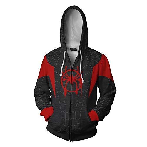 Spider Kostüm Boy - Zhangjianwangluokeji Miles Morales Kostüm Halloween-Spiel Cosplay Zip Up Hoodie Jacke (X-Large, Schwarz)