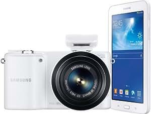 Samsung F-EVNX2000 Systemkamera Set (20,3 Megapixel, 9,4 cm (3,7 Zoll) LCD-Display, HDMI, WiFi, USB 2.0) inkl. Galaxy Tab 3 Lite 7.0 Wi-Fi 8 GB , 20-50 mm i-Function Objektiv, Adobe Lightroom 4, weiß