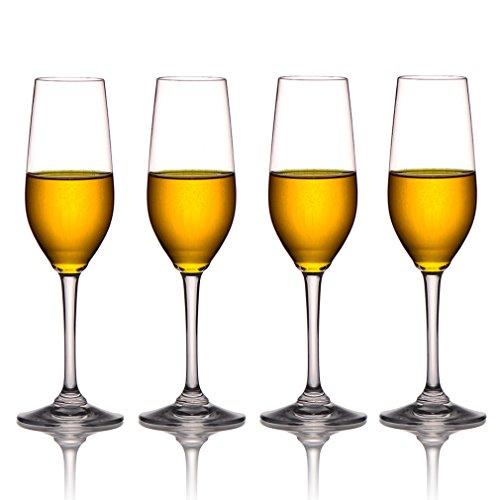 MICHLEY Tritan-Kunststoff Unzerbrechlich Champagner trinkglas, weinglaeser, gläser fur Camping Party, BPA-frei 230 ml plastik Tasse 4 er Set