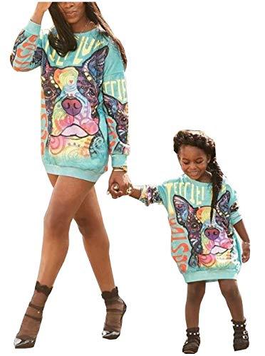 Loalirando Mutter Tochter Sweatshirt Pullover Partnerlook Basic Langarmshirt Langes Pulloverkleid (4-5 Jahre, Tochter)