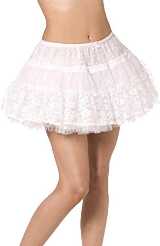 Lace Petticoat Skirt Lined - White for adults. Ideal for a sexy Madonna 1980s look