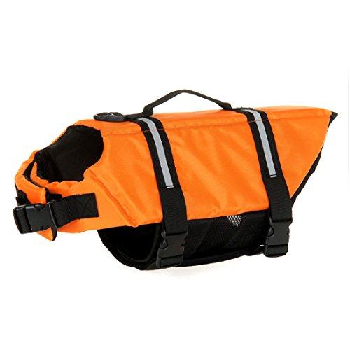 Ericoy Hunde Schwimmweste Float Coat Schwimmhilfe Rettungsweste für Hunde Haustier Mit Griff und Reflektoren Orange L