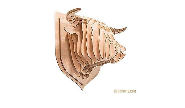 Dacoris Red T/ête de Taureau Design et d/écoration Murale T/ête danimal DIY Mod/èle 3D Le Taureau S T/ête Animal Mural Bois Animal d/écoratif Troph/ée Animal
