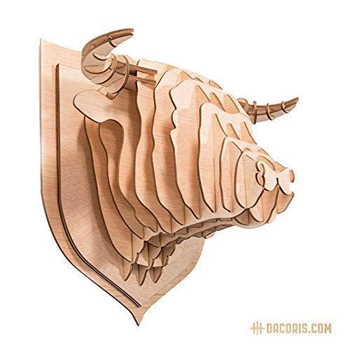 Dacoris Red, der Stier | Holz | Stierkopf | DIY 3D Wandbill | Tierkopf | Kopfskulpturen | Trophäe | Wanddeko | Wandskulpturen (M)