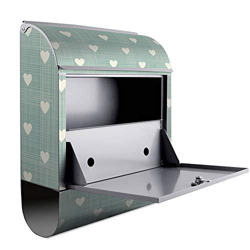 BANJADO Design Briefkasten mit Zeitungsfach, 2 Schlüssel, A4 Einwurf, silber pulverbeschichtet, mit Motiv WT Muster Herzen - 3