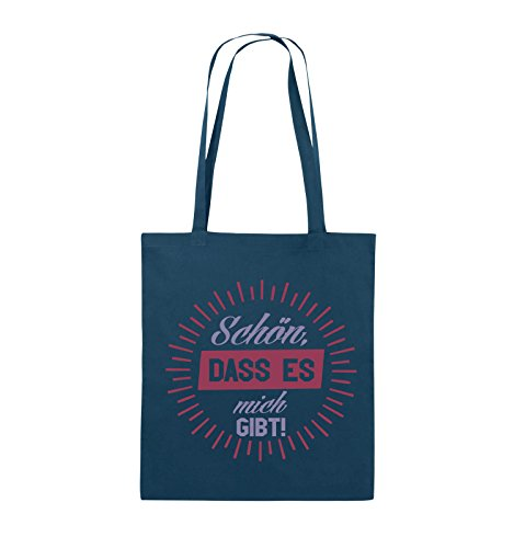 Comedy Bags - Schön, dass es mich gibt! - Jutebeutel - lange Henkel - 38x42cm - Farbe: Schwarz / Weiss-Neongrün Navy / Violet-Fuchsia