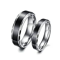 Stainless Steel 6MM/4MM His and Hers Couple Wedding Rings Black Silver 2Pcs Women Size J 1/2 & Men Size R 1/2