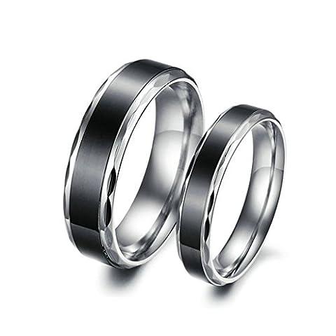 Epinki Bijoux Alliance 2Pcs 6MM/4MM Acier Inoxydable Couple Mariage Anneaux