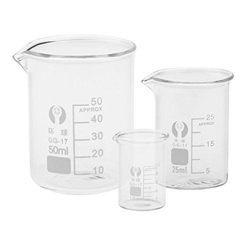 NF&E 10ml 25ml 50ml Glass Transparent Beaker Borosilicate Measuring Glass Beaker Glassware School Chemistry Laboratory Study Supplies