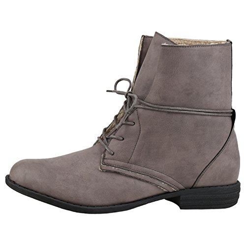 napoli-fashion Damen Schnürstiefeletten Warm Gefütterte Stiefeletten Winter Boots Grau Grey 36 Jennika