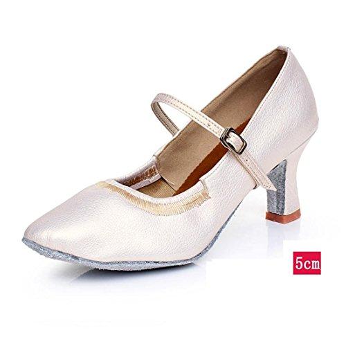 Wxmddn Femmes Chaussures De Danse Moderne Blanc Perle Chaussures De Danse Femme Adulte 5 Cm Talon Haut Chaussures De Danse En Plein Air Semelles Souples Chaussures De Danse Quatre Saisons Blanc Perle 5 Cm Pour L'extérieur