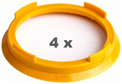 4 x Zentrierringe 70.4 mm auf 60.1 mm gelb/yellow