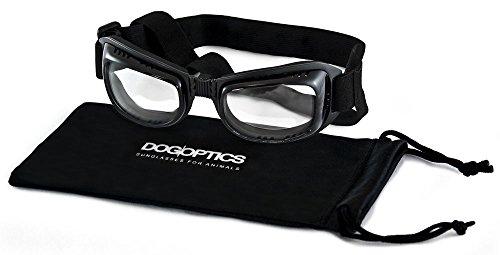 Dogoptics Größe S Pet Hund Sonnenbrille Biker Brille schwarz Rahmen/klare Gläser 05