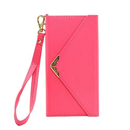 Happy-l case per iphone 6 / iphone 6s, custodia a portafoglio in similpelle ruvida e resistente con stampa stile busta (colore : rose red)