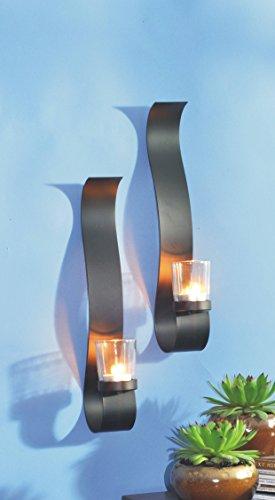 VARILANDO® Wand-Kerzenhalter aus Metall und Glas im 2er-Set für Teelichter Teelicht-Halter - Kerze-halter-wand-dekoration