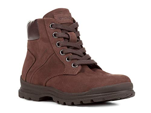 Geox J845HB Navado Modischer Jungen Leder Stiefel, Schnürstiefel, Leichtes Fleece Futter, Atmungsaktiv Braun (DK Brown), EU 36