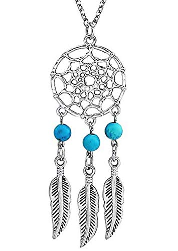 Legisdream - Collar con Colgante de atrapasueños, Perlas celestes y Plumas, Protege de Las pesadillas, Joya Idea Regalo Fiesta Unisex